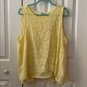 Plus Size Yellow Sheer Forever 21 Lace Top